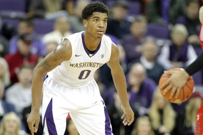 DEC 22, 2015:  Washington's Marquese Chriss against Seattle University. Washington defeated Seattle University 79-68 at Alaska Airlines Arena in Seattle, WA.