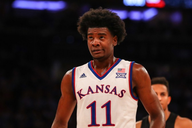 NEW YORK, NY - NOVEMBER 15:  Kansas Jayhawks guard Josh Jackson (11) during the first half of the Champions Classic NCAA basketball game between the Kansas Jayhawks and the Duke Blue Devils on November 15, 2016, at Madison Square Garden in New York.  (Photo by Rich Graessle/Icon Sportswire)