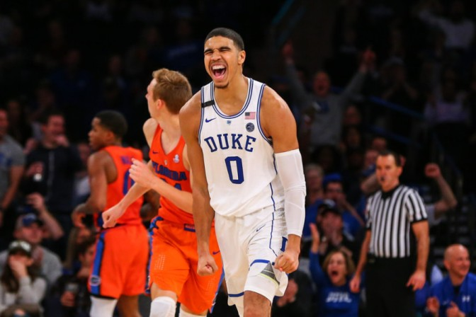 NEW YORK, NY - DECEMBER 06:  Duke Blue Devils forward Jayson Tatum (0) reacts after making a basket during the second half of the NCAA mens basketball between the Duke Blue Devils and the Florida Gators on December 06, 2016, during the Jimmy V Classic at Madison Square Garden in New York.  (Photo by Rich Graessle/Icon Sportswire)